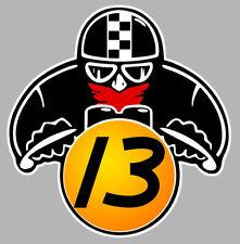 MOTARD CAFE RACER #13 VINTAGE BIKER 8cmX7,5cm AUTOCOLLANT STICKER MOTO MA173.