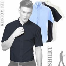 Patternless Short Sleeve Long Formal Shirts for Men