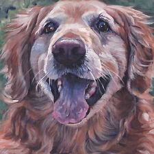 "Golden Retriever portrait Canvas Print of Lashepard painting 12x12"" dog art"