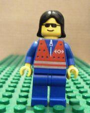 LEGO MINIFGURE – TRAIN – RED VEST & ZIPPER, BLACK HAIR – FEMALE - USED