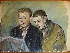 Russian Ukrainian Soviet Painting  portrait teen-age boys children realism