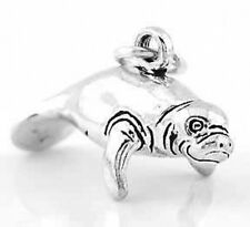 "SILVER MANATEE SEA COW CHARM W/ 18"" BOX CHAIN NECKLACE"