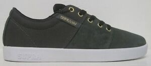 SUPRA Men's Stacks Suede Low Top Sneaker Shoes,Charcoal/Black/Gold/White, 8 & 9