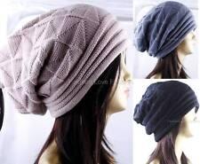 1 Womens Mens Winter Beanie Beret Hat Plicate Crochet Knit Baggy Slouchy Cap