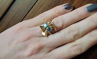 DIVINE ANTIQUE 14K OSTBY BARTON YELLOW GOLD DOUBLE BLUE ZIRCON RING  SZ 5.5
