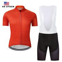 New Men's Cycling Jersey Bib Shorts Ride Outdoor Sports Shirt Pad Orange Color