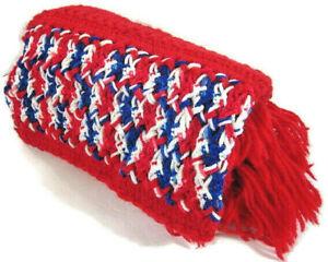 Crocheted Handmade Granny Lap Throw Soft Afghan Blanket Red White & Blue 48 x 22