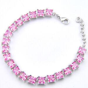 "Sweet Holiday Gift DREAM Facet Diamond Pink Kunzite Silver Chain Bracelet 8"""