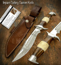 IMPACT CUTLERY RARE CUSTOM D2 FULLER BOWIE KNIFE CAMEL BONE HANDLE