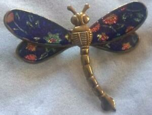 Vintage Stylish Blue + Pink Sparkly Winged Dragonfly Brooch Gold-tone 1980s/90s