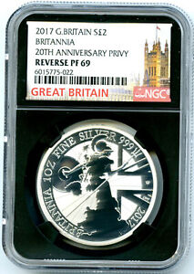 2017 GREAT BRITAIN 1OZ SILVER REVERSE PROOF BRITANNIA NGC PF69 RARE MINTAGE 500