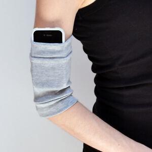 Gray Cotton Arm Bands Cycling Cuffs Running Phone ID Holder Sweatbands Workout 2