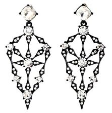 BLACK JAPANNED CLEAR WHITE CRYSTAL RHINESTONE Chandelier Drop Dangle Earrings