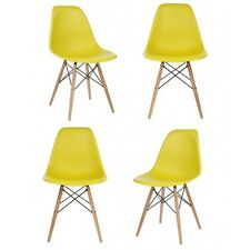 Set of 4 Eames Style DSW Molded Yellow Plastic Shell Chair with Wood Eiffel Legs