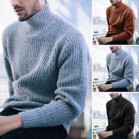 Mens Long Sleeve High Neck Knit Sweater Turtleneck Pullover Jumper Tops Pullover