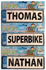 Embossed Metal BOYS NAMES Personalised ID Plate For Bike, Bedroom Door, Locker