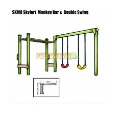 Monkey Bar with Double Swing Set Kit Wood Playground Backyard Kids DIY SKM8 NEW