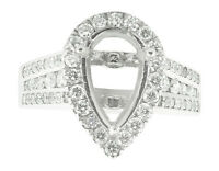 1.15Ct Round Diamond Pear Shape Semi-Mount Halo Engagement Ring 14K Gold