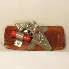 Vintage Toy Revolver Model with Leather Belt Buckle & 1 Plastic Bullet