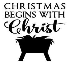 Christmas Begins With Christ Removable Vinyl Wall Door Art Decal Decor Christian