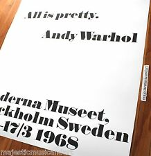 "ANDY WARHOL ""ALL IS PRETTY"" OFFICIAL SWEDEN GALLERY POSTER MINT HUGE"