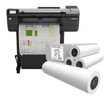 Hp Designjet T830 Large Wide Format Wireless Printer 24f9a28d 4 Paper Rolls