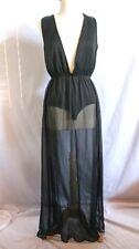 Nasty Gal Women's Sleeveless Plunging Bodysuit Sheer Maxi Dress Large L Black