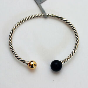 DAVID YURMAN NEW Solari  Silver 3.5mm Cable Bracelet w/14K Gold & Black Onyx Med