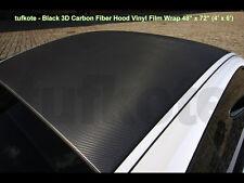 "Black 3D Carbon Fiber Hood Vinyl Film Wrap 48"" x 72"" (4' x 6') Twill Weave Sheet"