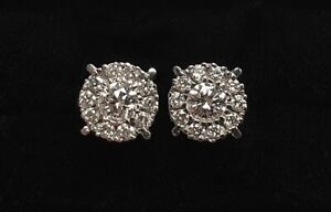 Pretty 14ct White Gold Diamond Cluster Stud Earrings