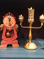 Disney Parks Beauty and the Beast Cogsworth Clock & Lumiere Light Up-FREESHIPPIG