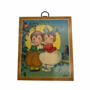 Vintage 1930's Mini Wall Hanging Boy Girl Sitting on Branch in Moon Birds