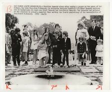 Caroline and Kennedy Family at JFK Grave - Vintage Wire Service Photograph