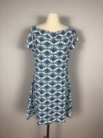 Title Nine Blue and White Geometric Print Short Sleeve Athletic Dress Women's M