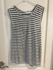A.L.C. Top Rutherford Slit Back Striped Linen Tank White Black Size Extra Small