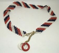 Vintage Mod 1960s Faceted Red White Blue Plastic Bead Chain Belt Hip Hugger