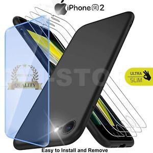 CUSTODIA per Apple iPhone SE 2020 Cover TPU NERO + Pellicola VETRO Temperato 9H