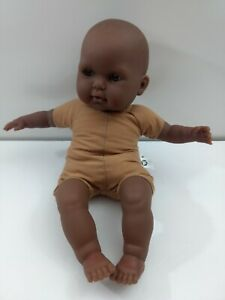 """African American Black Berenguer Baby Doll 15"""" Nude JC Toys Cloth Body"""