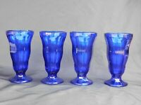 (4) Vintage Anchor Hocking Cobalt Blue Pedestal Ice Cream Parfait Sundae Glasses