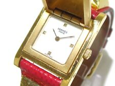 Auth HERMES Medor Red Gold White Women's Wrist Watch 643262