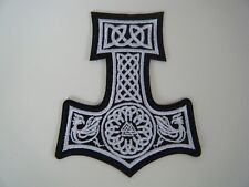 THOR'S HAMMER PATCH Embroidered Iron On Badge VIKING PAGAN ODIN TRIBAL WHITE NEW