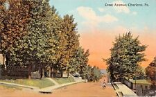 CHARLEROI PENNSYLVANIA~CREST AVENUE-BOYS DOUBLING ON BICYCLE POSTCARD 1910s