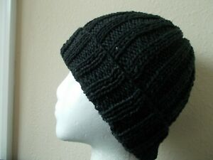 Hand knitted cozy and warm 100% wool hat, dark charcoal gray (small)