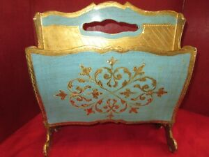 Magazine Holder Italian Florentine - Vintage Blu & Gold Magazine Rack - European