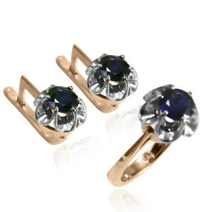 Russian Style Created Genuine Sapphire Jewelry Set in 14K 585
