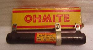 Ohmite Dividohm Numéro 0589 50W 0.019A Vitreux Émaillé Résistance Pointe