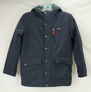 Patagonia Sherpa Fleece Lined Hooded Coat Blue Youth Boy's Medium (10-12)