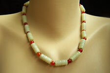 "Fabulous Estate Vintage Chinese Carved Hetian Jade Carnelian Necklace 19"" 44.2 g"