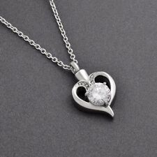 Cremation Memorial keepsake,White Crystal Heart Pendant And Necklace for Ashes.