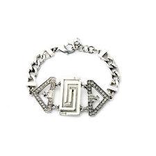 Bracelet Argenté Art Deco Triangle Cristal Mariage Fin Retro CT3